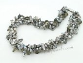 Tpn223 Three Strands Grey Color Freshwater Blister Pearl & Crystal Twisted Necklace