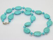 tqn062 15*20mm turquoise necklace alternating with 6mm turquoise  beads