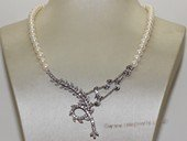 wn070  Freshwater Pearl and Sterling Silver Bridal Necklace Vintage Rhinestone Wedding Jewelry