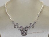 wn071  Freshwater Pearl and Sterling Silver Bridal Necklace Vintage Rhinestone Wedding Jewelry