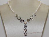 wn072  Freshwater Pearl Bridal Necklace Sterling Silver  Wedding Jewelry