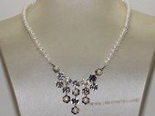 wn073  Freshwater Pearl Bridal Necklace Sterling Silver  Wedding Jewelry