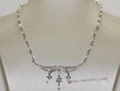 wn075  Hand wired freshwater pearl and crystal necklace with sterling silver wedding  fitting jewelry