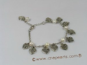 anklet001 18KGP chian Pearl Anklet with heart-shape fittings
