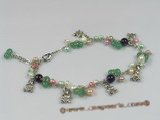 anklet003 fashionable gem stone anklet with metal rolo chain