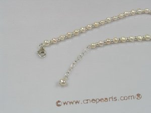 anklet005 Fanshion 4-5mm white seed pearl anklet with adjustable sterling lobster clasp