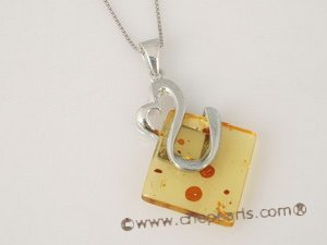ap003 Sterling Silver natural Genuine Amber Pendant in wholesale
