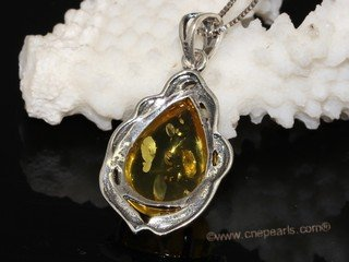 ap008 Amazing Sterling Silver Genuine Amber Pendant