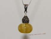 ap009 Amazing Sterling Silver Genuine Amber Pendant