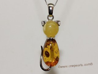 ap010 Amazing Sterling Silver Nature Amber Pendant