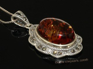 ap011 Amazing Sterling Silver Nature Amber Pendant