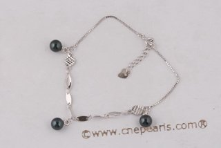 apb002 cultured black akoya pearl bracelet with steling silver chain