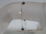 apb003 black & white akoya pearl bracelet with 925 silver chain wholesale