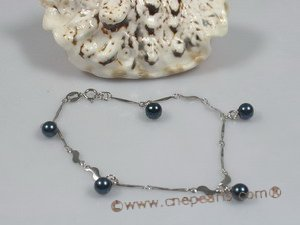 apb004 Sterling chain bracelet with black akoya pearl wholesale