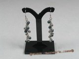 ape001 sterling silver BUNCH 4.5-5mm black akoya pearls dangle earrings