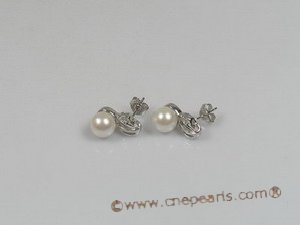 ape003 sterling silver 7.5-8mm white cultured akoya pearls studs earrings