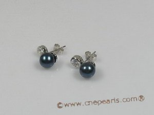 ape007 sterling silver 7-7.5mm black chinese akoya pearls studs earrings
