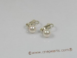 ape008 7.5-8mm white cultured akoya pearls set on sterling tray CLIP Earrings