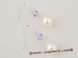 ape011 Sterling purple Austrian crystal and baroque akoya pearl dangle Earring