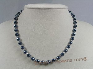 apnset005 16 Inch Round 6-6.5mm black Akoya SaltWater Pearl Necklace