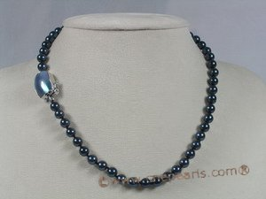 apnset007  Round 6-6.5mm black Akoya Pearl Necklace jewelry