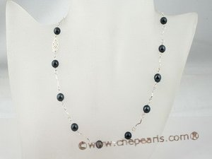 apnset008 Stunning 7-7.5mm black tin cup akoya pearl necklace earring set