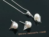 apnset012 White 6.5-7mm round salt water pearl pendant necklace earrings set