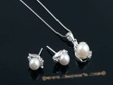 apnset013 White 7-7.5mm round akoya pearl pendant necklace match stud earrings