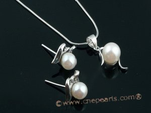apnset014 Lovely Round akoya pearl pendant necklace jewelry set in wholesale