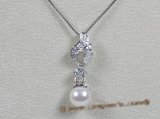 app001 sterling silver pendant with 7.5-8mm white akoya pearl