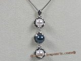 app004 Sterling multi-color 6-6.5mm chinese akoya pearl pendant