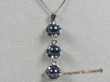 app005 Sterling black 6.5-7mm chinese akoya pearl pendant