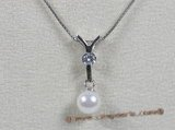 app006 Sterling white 6.5-7mm akoya pearl pendant with zircon beads