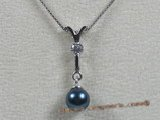 app007 Sterling black 6.5-7mm akoya pearl pendant with zircon beads