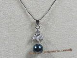 app011 Sterling black 7.5-8mm akoya pearl pendant with zircon beads
