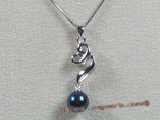 app014 Sterling black 7-7.5mm chinese akoya pearl pendant