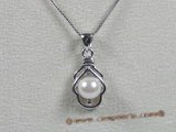 app019 flower design white 6.5-7mm akoya pearl sterling pendant