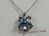 app021 black 7-7.5mm akoya pearl sterling leafe design pendant