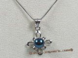 app024 black round saltwater pearl in 925silver pendant mountting
