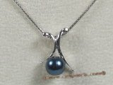 app026 black sea water pearl pendant in sterling silver wholesale