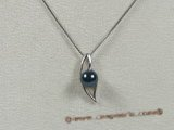 app028 925silver black round saltwater pearl pendant in wholesale