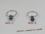 apr001 5.5-6mm black akoya pearl with sterling silver ring moungting,US SIZE 7