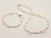 apsw7-7.5 Round 7-7.5mm Akoya Pearl wedding necklac set in AAA grade
