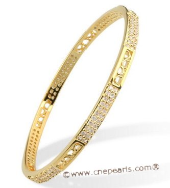 babr004 Ritzy Rhinestone Gold Plated Bangle/Bracelet in wholesale