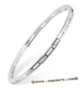 babr011 Shining Rhodium plating brass bangle with CZ&#39s inlayed