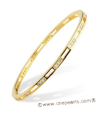 babr012 Shining CZ&#39s cuff Bangle with 14kt yellow Gold Electroplate