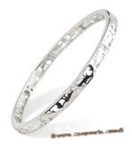babr013 handcraft Rhodium Plated Bangle/Bracelet with  CZ&#39s