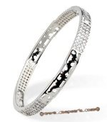 babr017 handcraft sparkly CZ&#39s carve bangle with Rhodium Plated