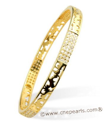 babr018 Gold plating sparkly CZ&#39s carve bangle and bracelet