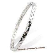 babr019 Rhodium Plated cute bangle inserted with CZ&#39s